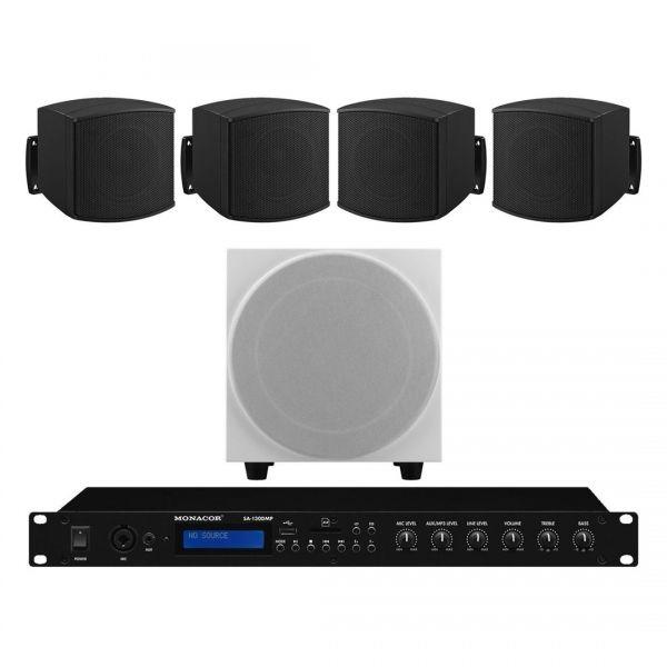 Monacor Sistema Audio per Filodiffusione 90W nero