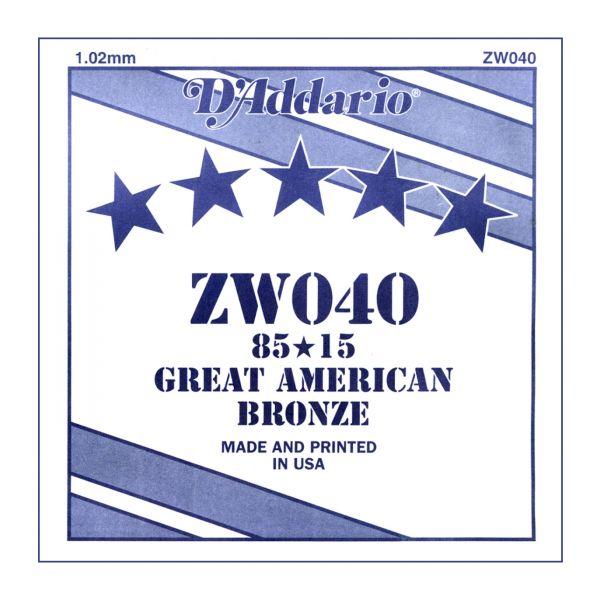 D'ADDARIO ZW040 - Singola per Acustica 85/15 Bronze (040)
