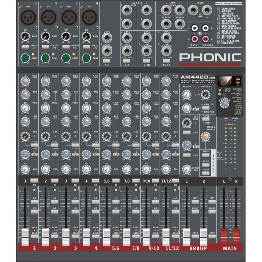 PHONIC AM442D USB - MIXER PASSIVO USB 8 CANALI CON MULTIEFFETTO