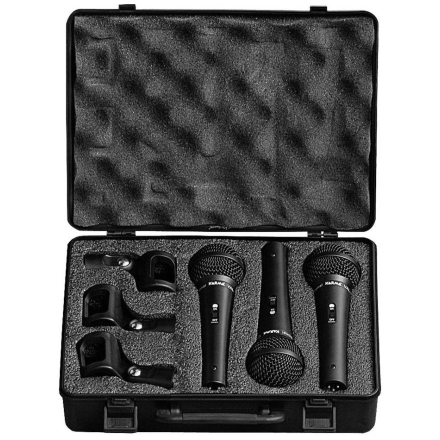 KARMA VAL 1003 - Kit set 3 microfoni dinamici per Karaoke