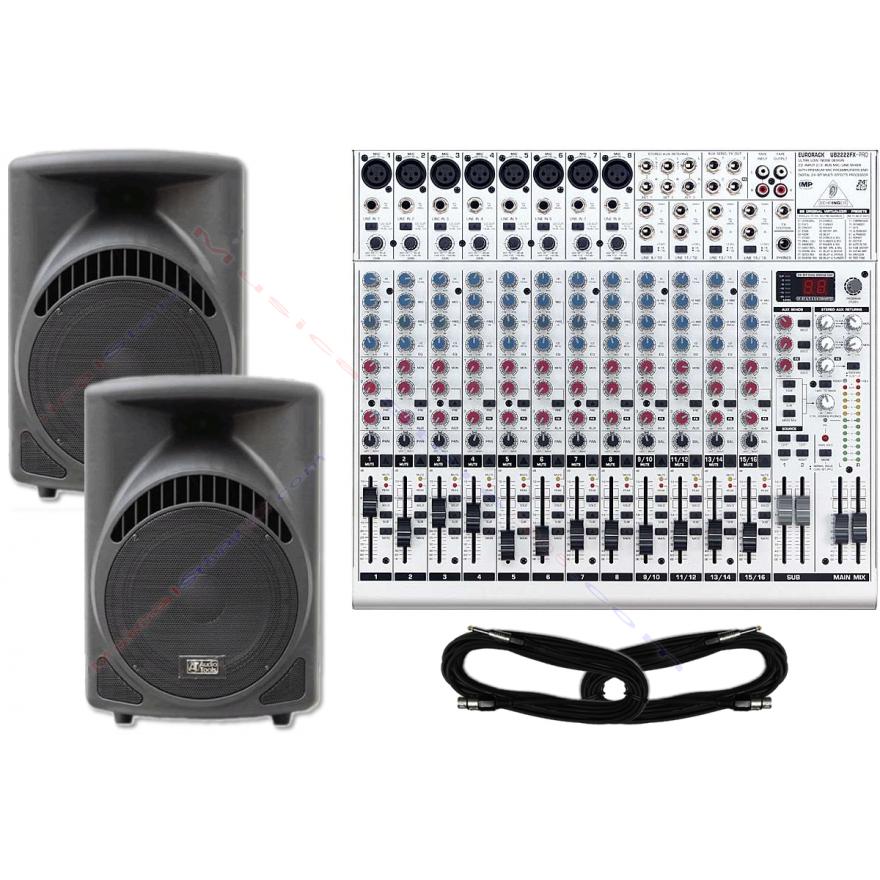 PROMO: Coppia casse attive ST215A + Mixer 22CH UB2222FX + cavi