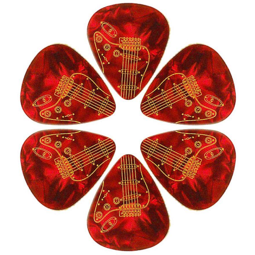 PICKLACE RED PEARLOID THIN PICKS - 6 PLETTRI SOTTILI