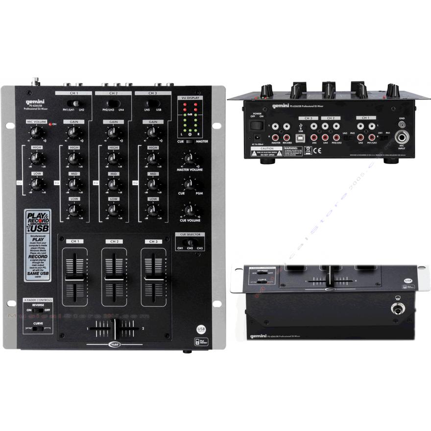 GEMINI PS626USB - MIXER 3 CANALI PER DJ USB