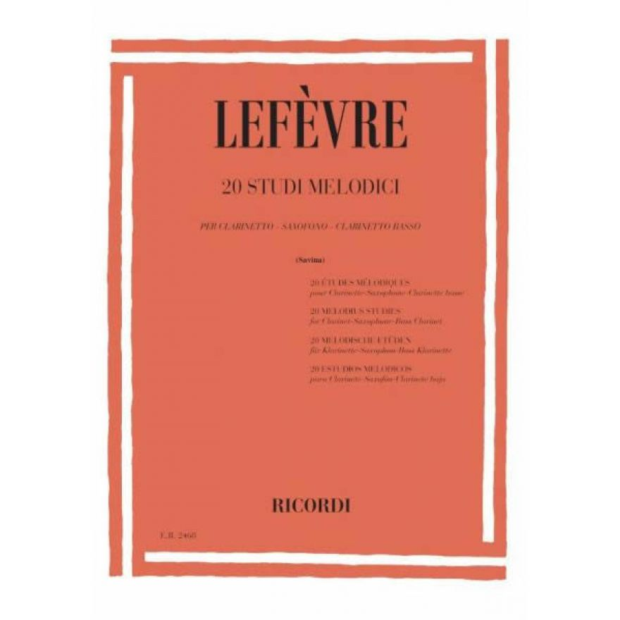 RICORDI Lefèvre, Jean Xavier - 20 STUDI MELODICI