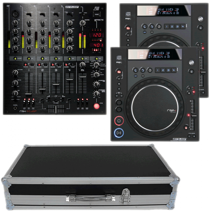RELOOP Kit 03 Mixer RMX40 + 2 Lettori CDJ RMP1 +  Flight Case