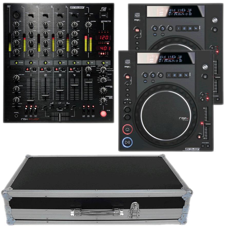 RELOOP Kit 03 Mixer RMX40 + 2 Lettori CDJ RMP1 +  Flight Case