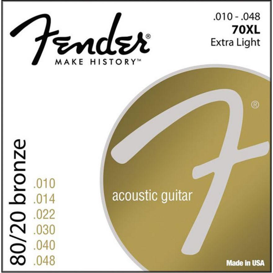 FENDER 70XL - MUTA PER CHITARRA ACUSTICA EXTRA-LIGHT (010-048)..