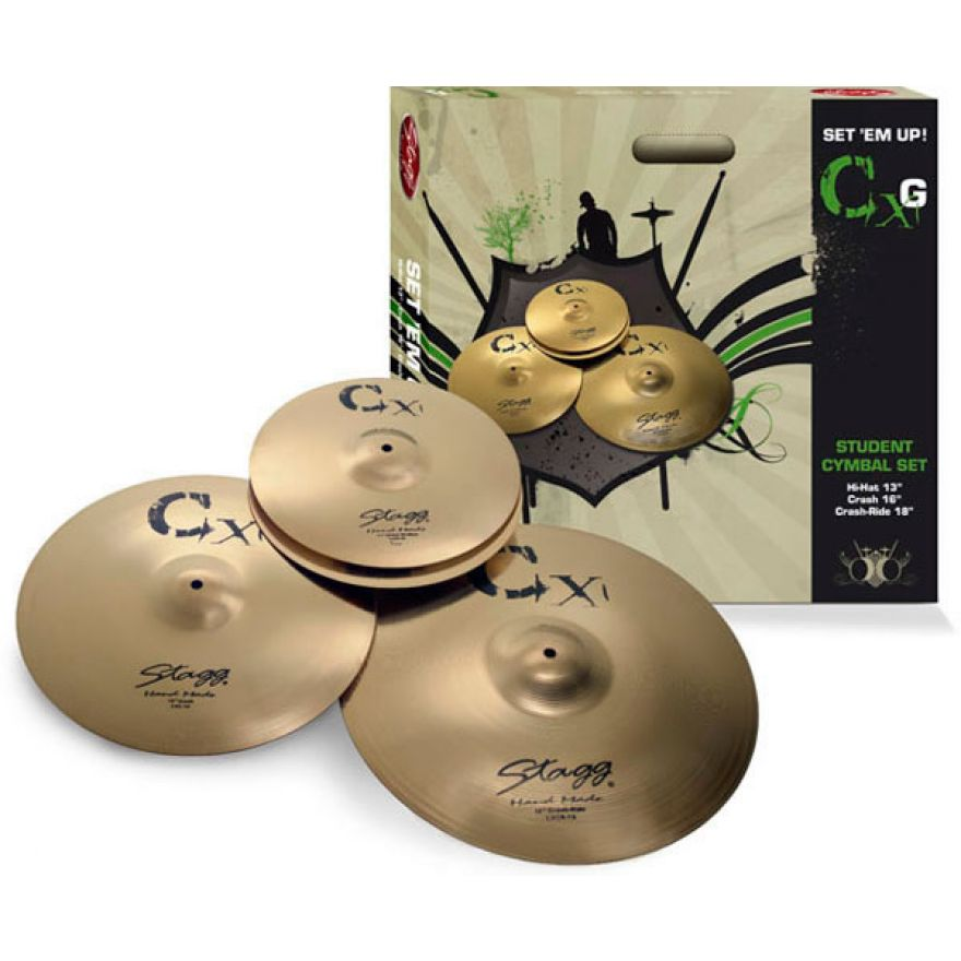 STAGG CXG - SET PIATTI IN OTTONE (HI-HAT-CRASH-CRASH RIDE)