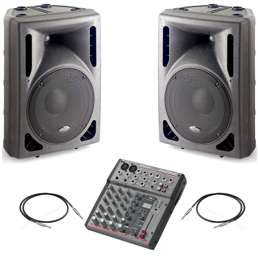 Stagg SMS12P EU+UK + Phonic AM220P + Cavi 3mt - Bundle