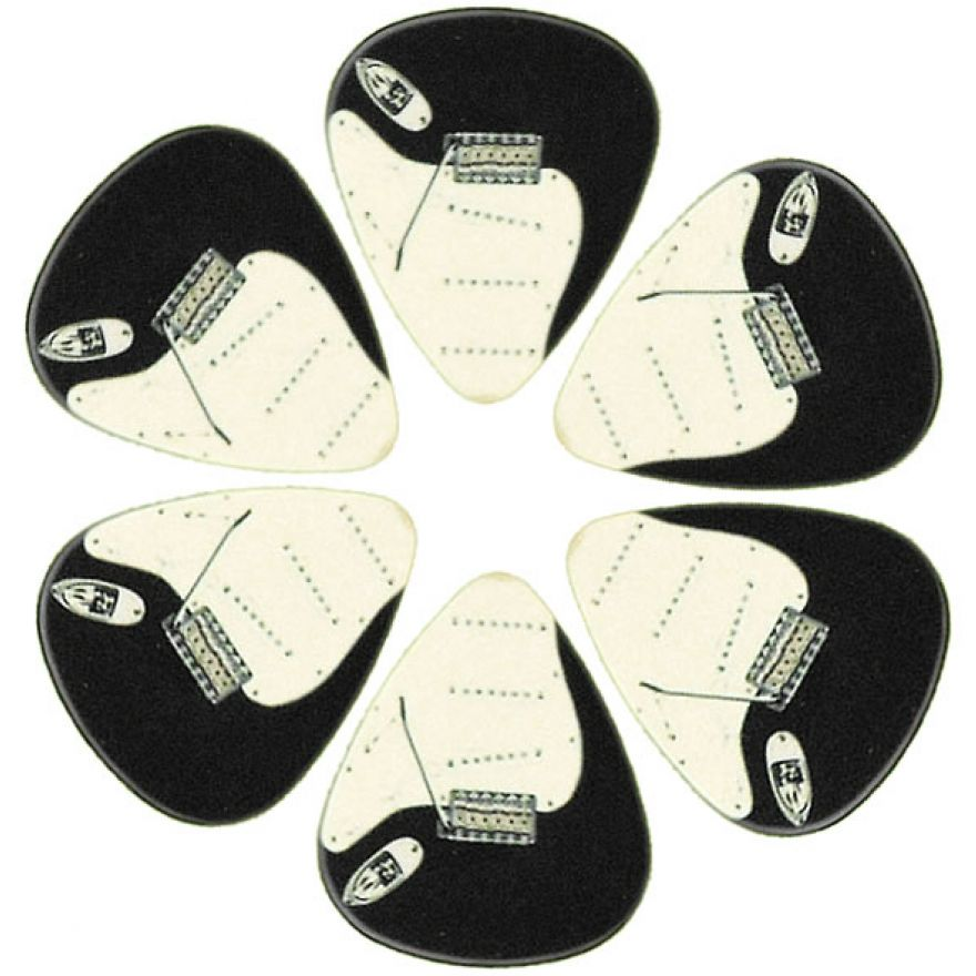 PICKLACE BLACK STRAT PICKS - 6 PLETTRI MEDIUM