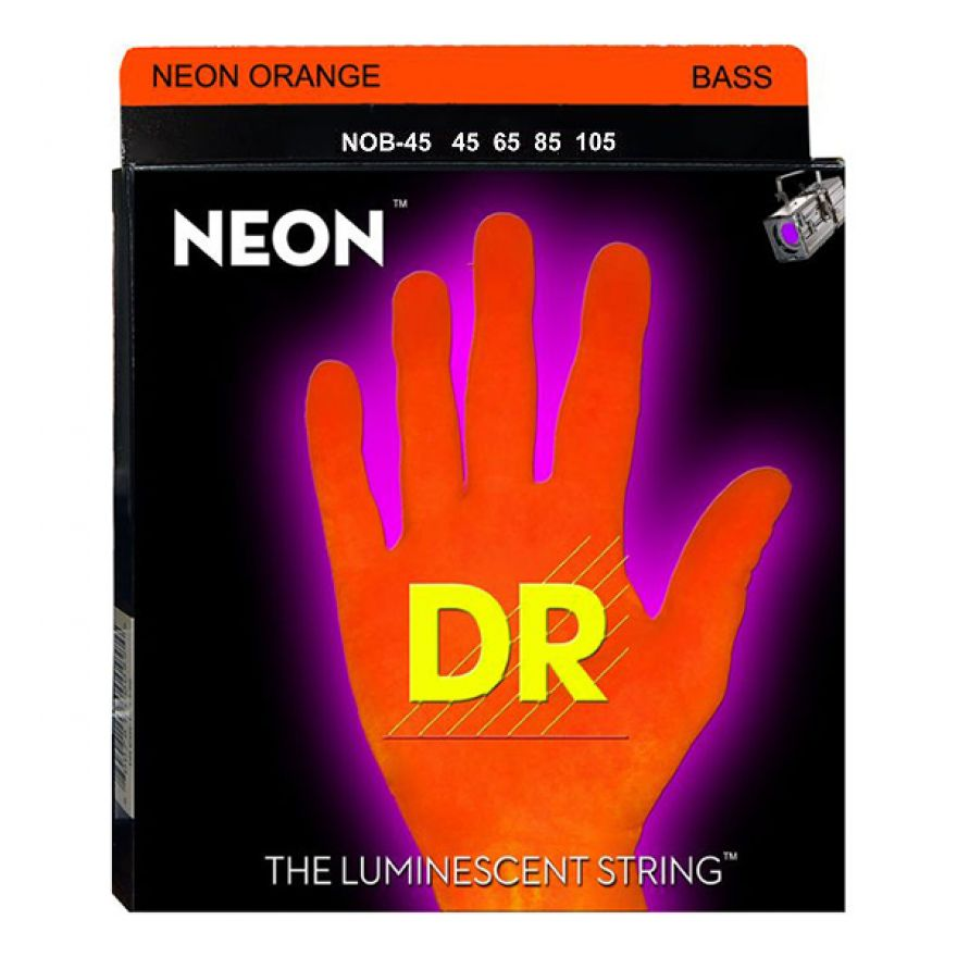 DR Strings NOB-45 Neon Orange - MUTA PER BASSO 4 CORDE Fluorescenti