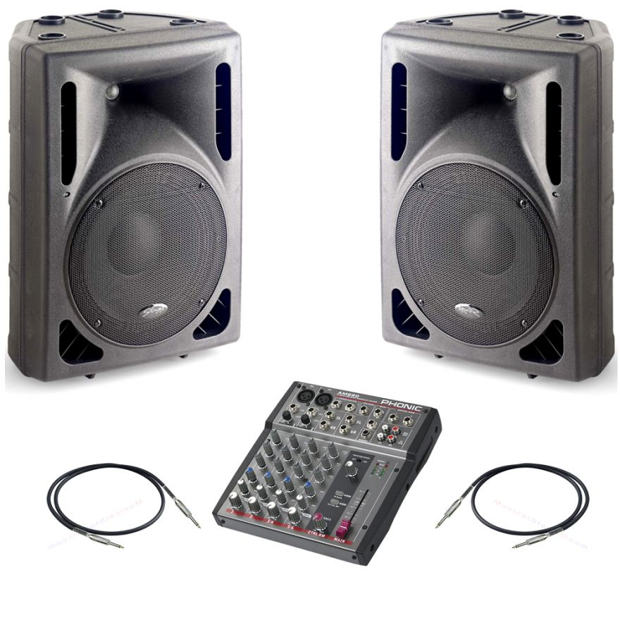 Stagg SMS12PLCD EU+UK + Phonic AM220 + Cavi 3m -Bundle