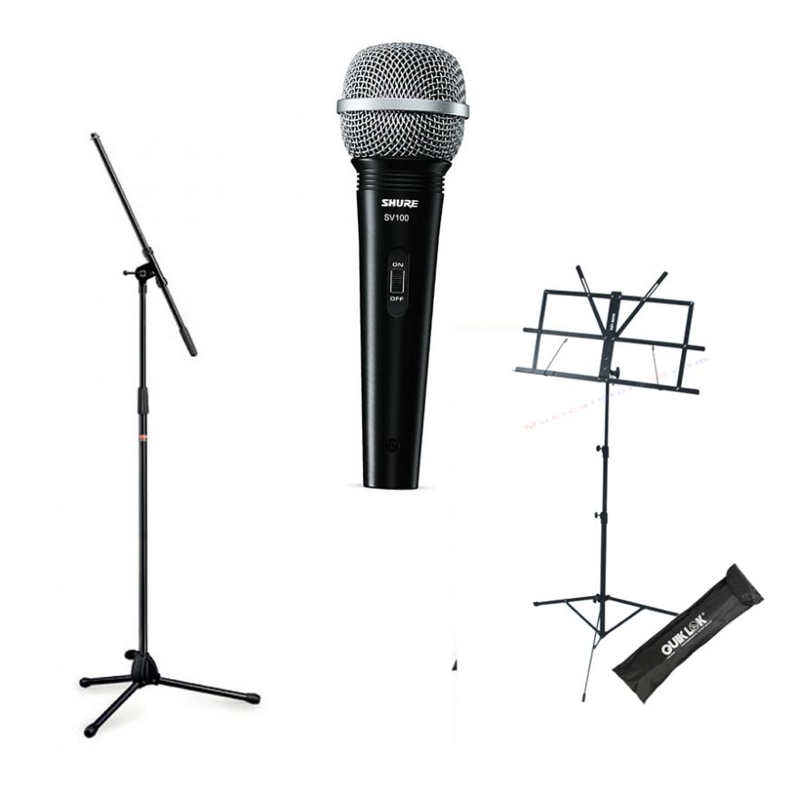 SHURE SV100 + STAGG MIS-0822BK + QUIKLOK MS334 - Bundle