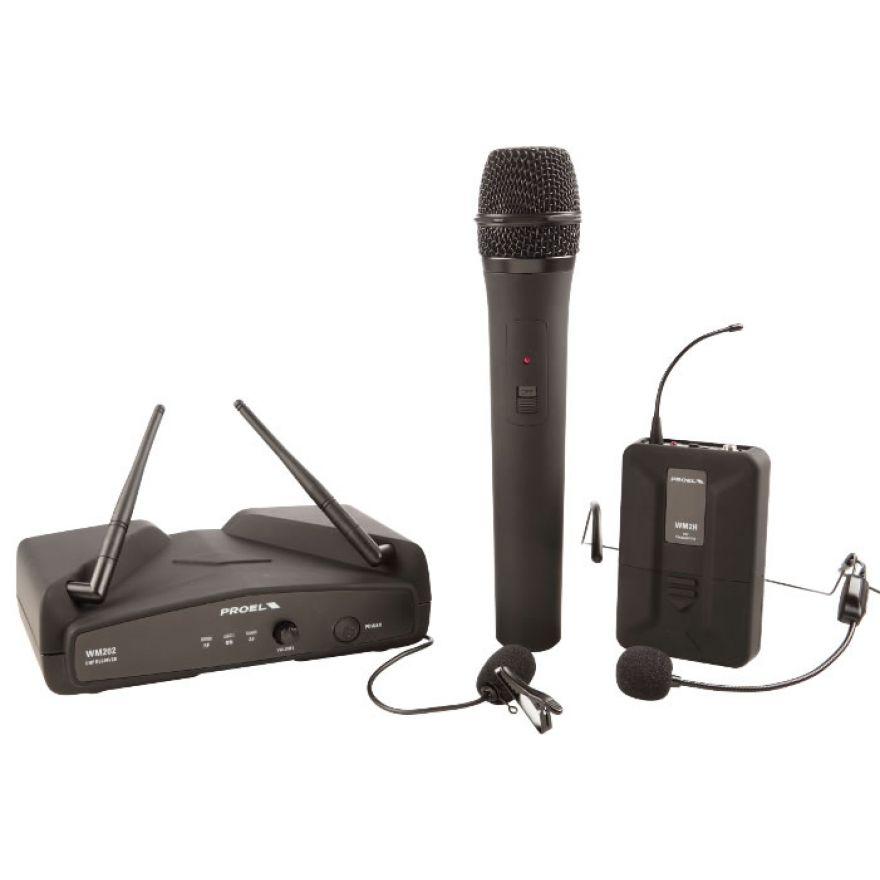PROEL WM202KIT - Radiomicrofono UHF gelato/lavalier/headset