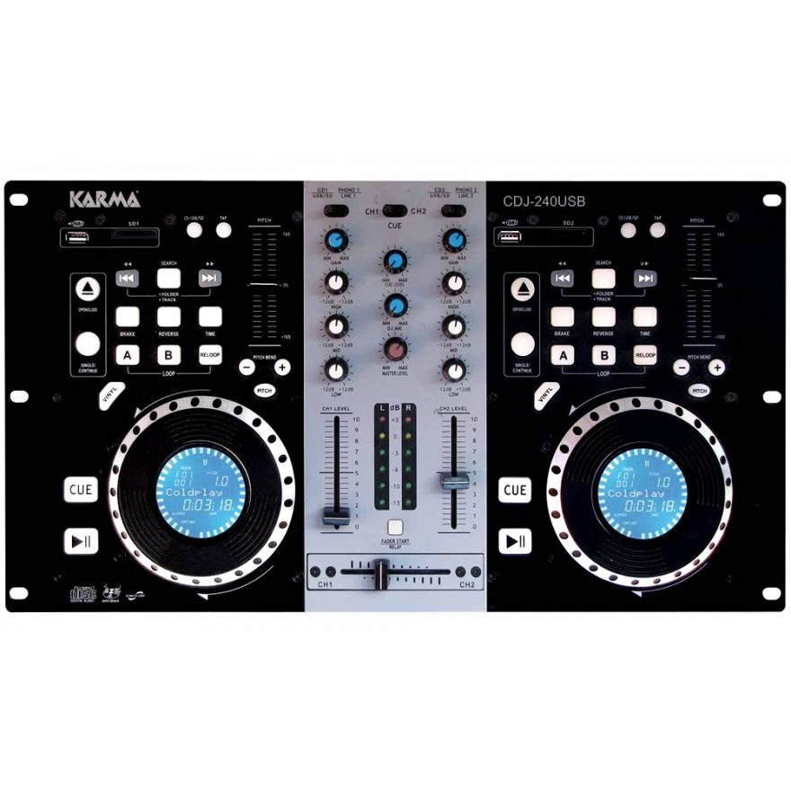 KARMA CDJ 240USB - KIT DJ CON MP3 E USB