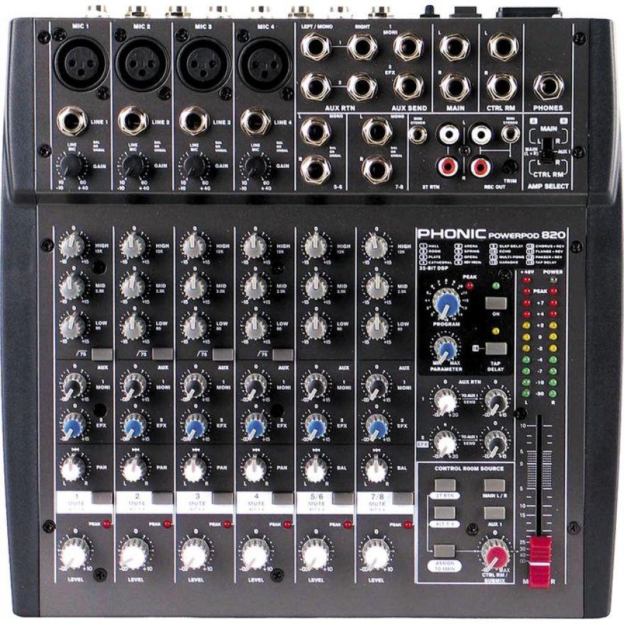 PHONIC POWERPOD 820 - MIXER 8 CANALI AMPLIFICATO 100+100W