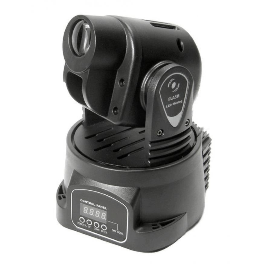 FLASH MOVING HEAD LED 15W MINI - TESTA MOBILE CON LED RGB