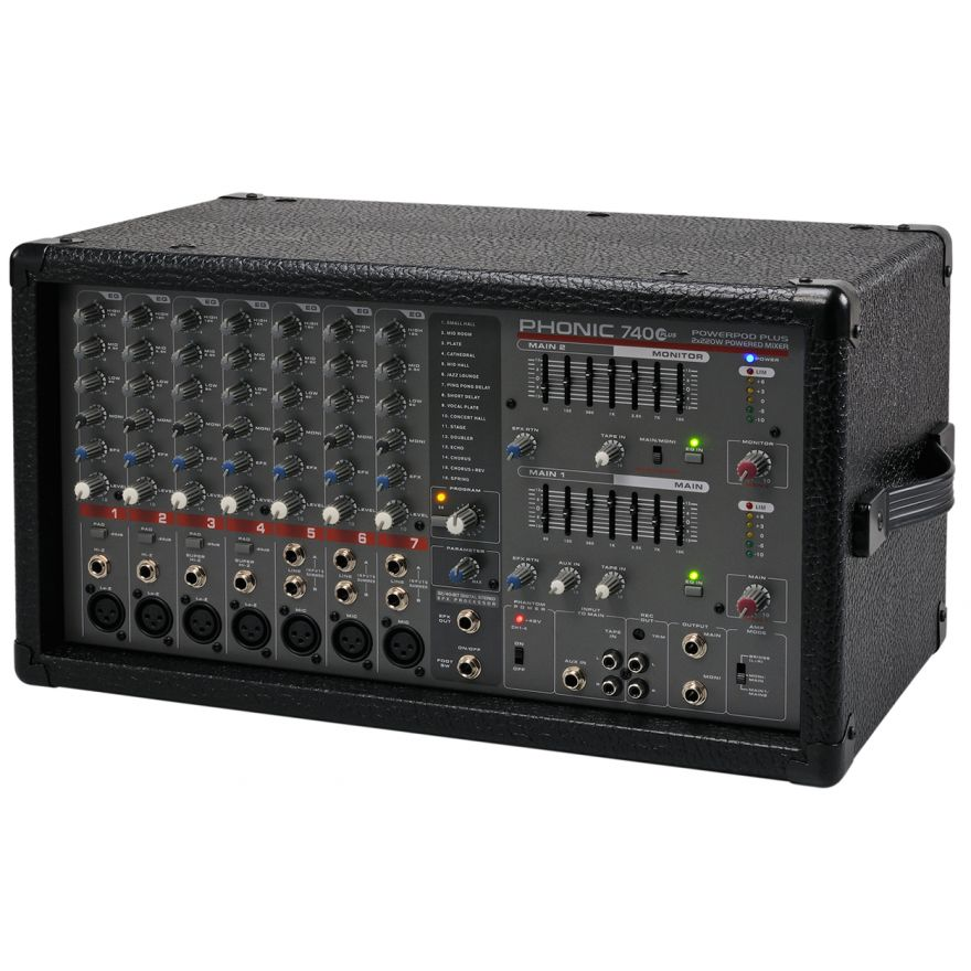 PHONIC POWERPOD 740 PLUS - MIXER 7 CANALI AMPLIFICATO 2x220W