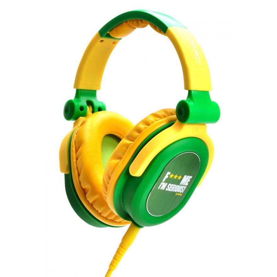 iDANCE FDJ 300 Verde/Giallo - CUFFIA STEREO Dj CON DRIVER 40mm