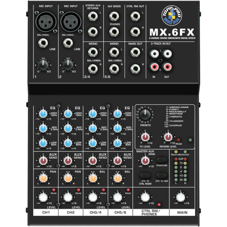 Topp Pro MX6 FX Mixer con effetti