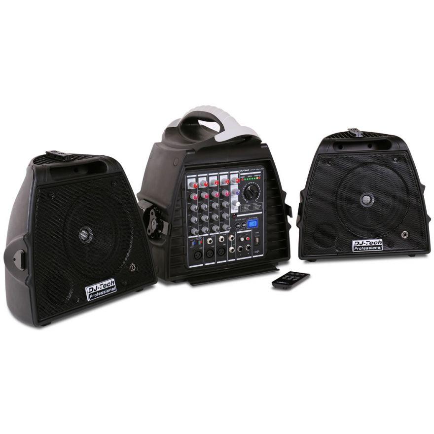 DJ TECH STAGE VISA 200 LIGHT -SISTEMA PA 140W (2 CASSE + MIXER)
