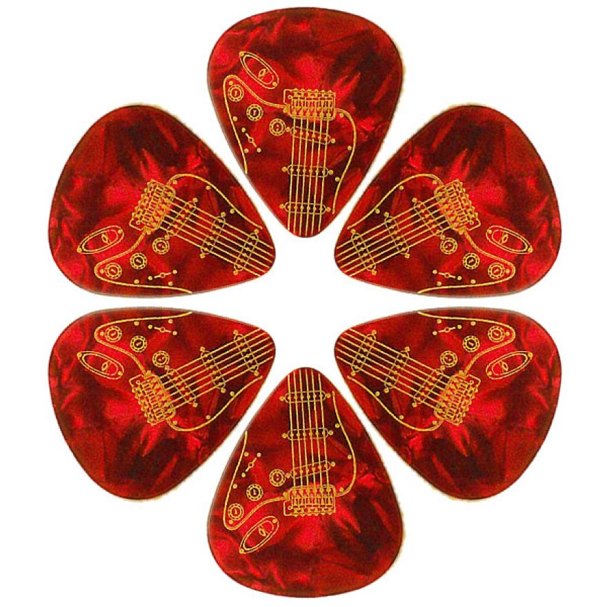 PICKLACE RED PEARLOID HEAVY PICKS - 6 PLETTRI DURI