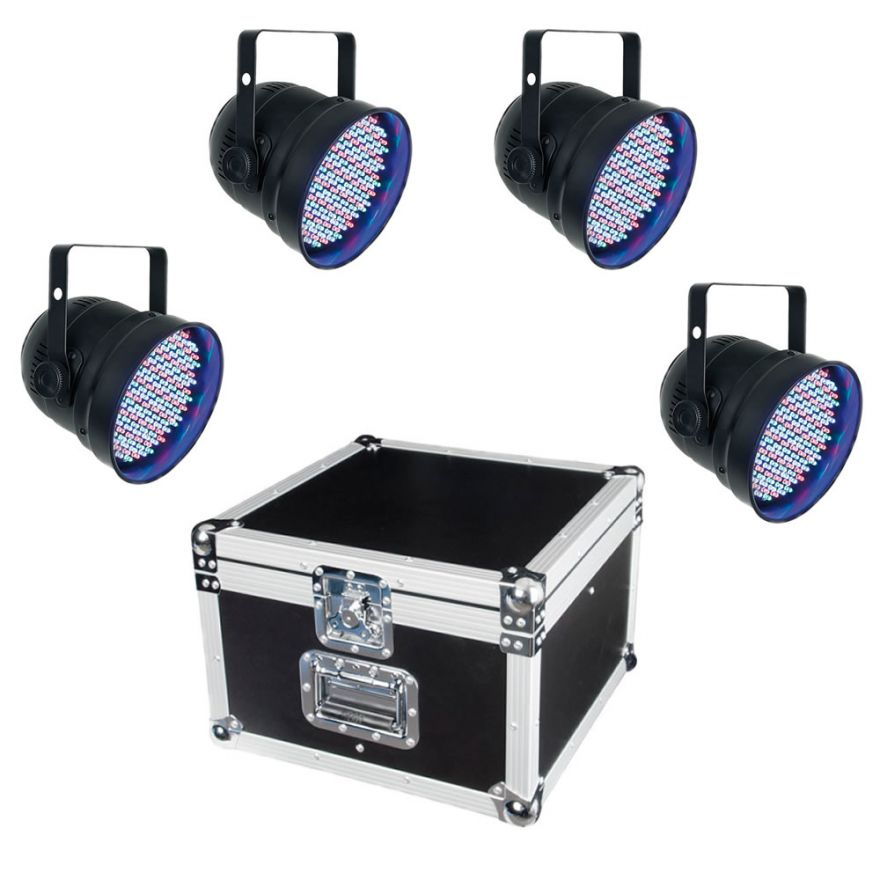 SHOWTEC LED PAR ECO SET - KIT 4 PAR 56 A LED + FLIGHTCASE