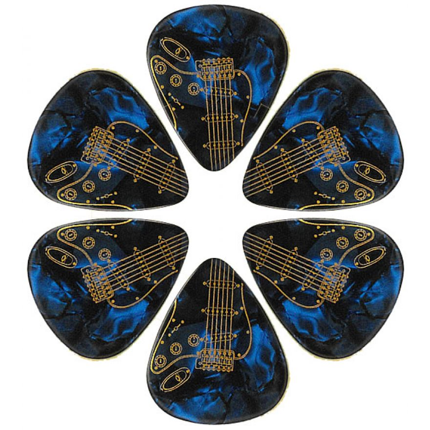PICKLACE BLUE PEARLOID HEAVY PICKS - 6 PLETTRI DURI