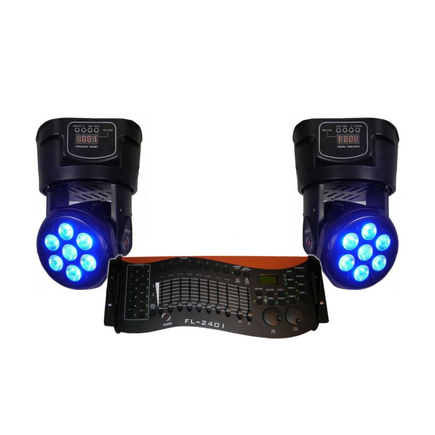 FLASH LED 2 MOVING HEAD 7X10W + 1 Controller DMX Omaggio
