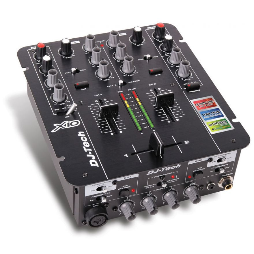 DJ TECH X10 - MIXER DJ 2 CANALI CON SCHEDA AUDIO E HUB USB