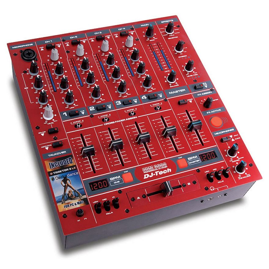 DJ TECH DDM3000 RED - MIXER DJ 4 CANALI