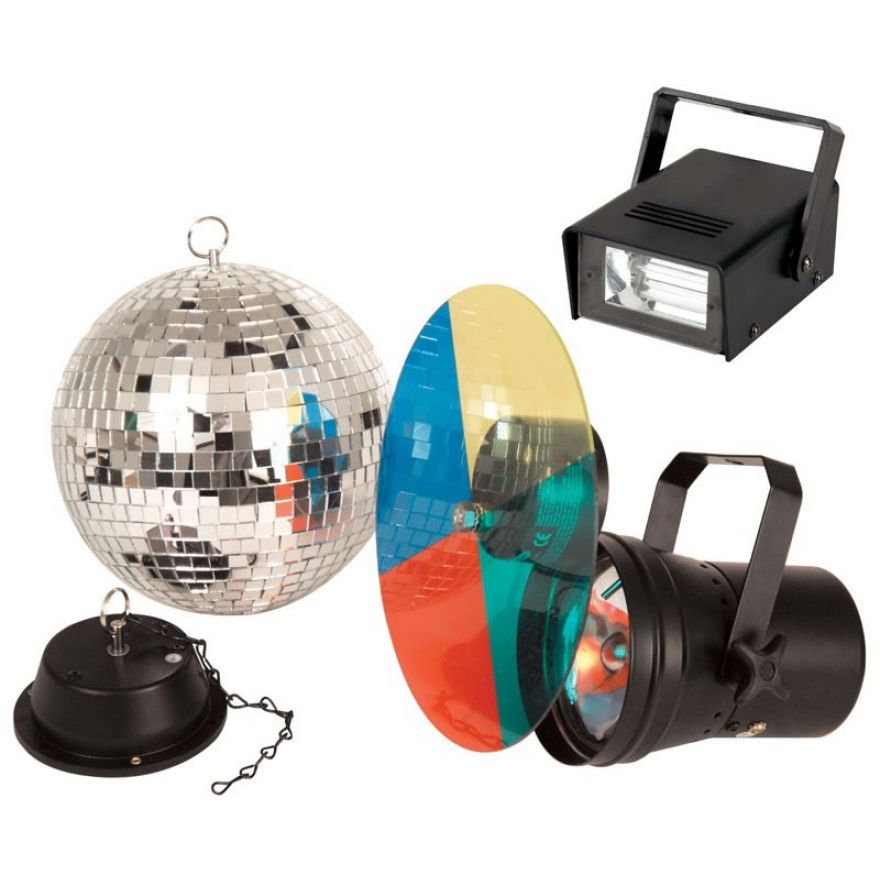 TRONIOS DISCO PARTY SET 250 - KIT SFERA + PAR + RUOTA + STROBO