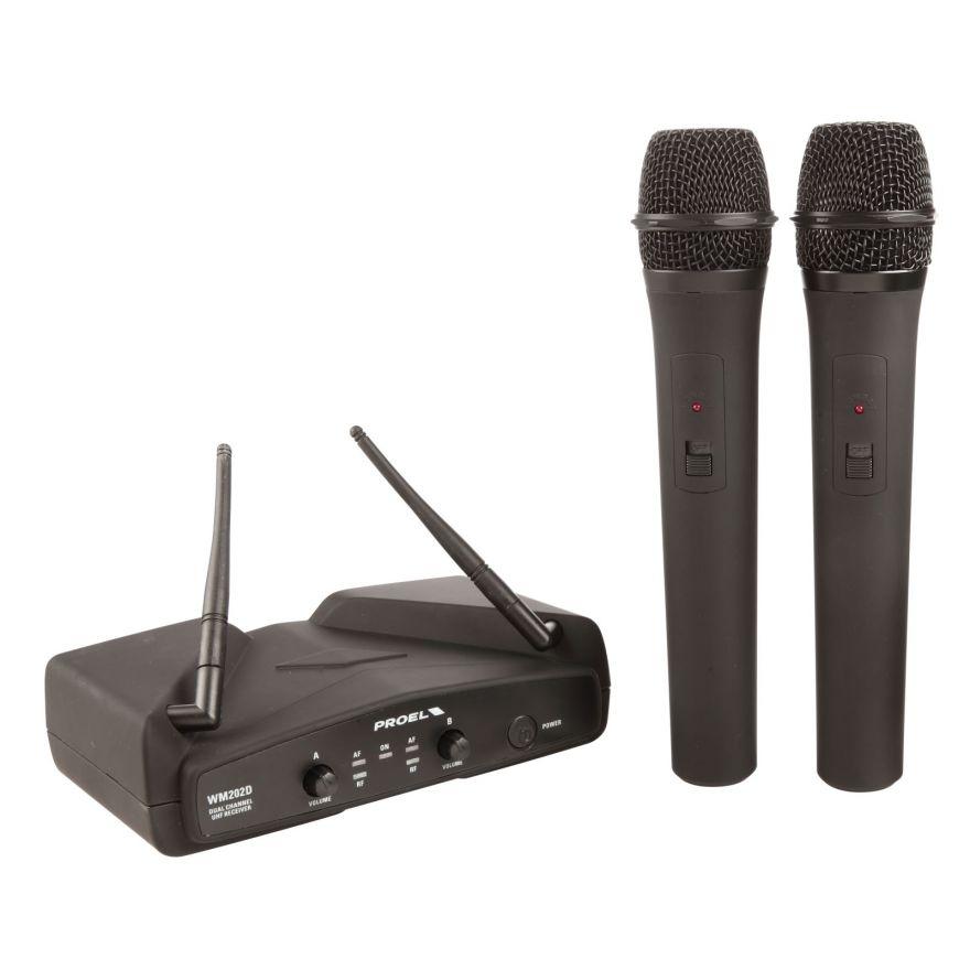 PROEL WM202DM - Radiomicrofono doppio UHF a gelato