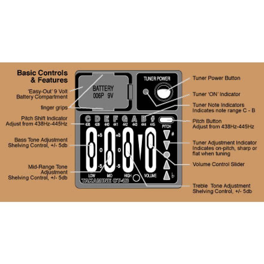 TAKAMINE TK CT4B - Preamplificatore con EQ a tre bande ed accordatore