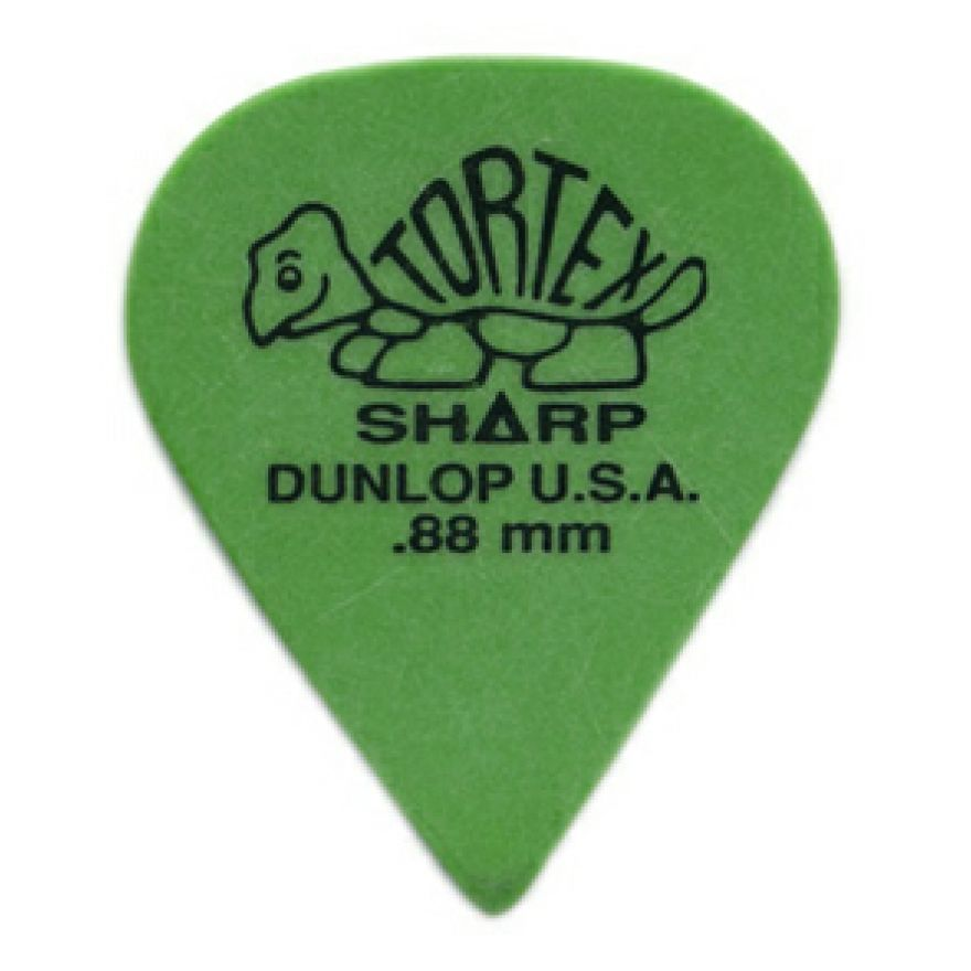 DUNLOP 412P - 12 PLETTRI TORTEX 'SHARP' GREEN .88mm