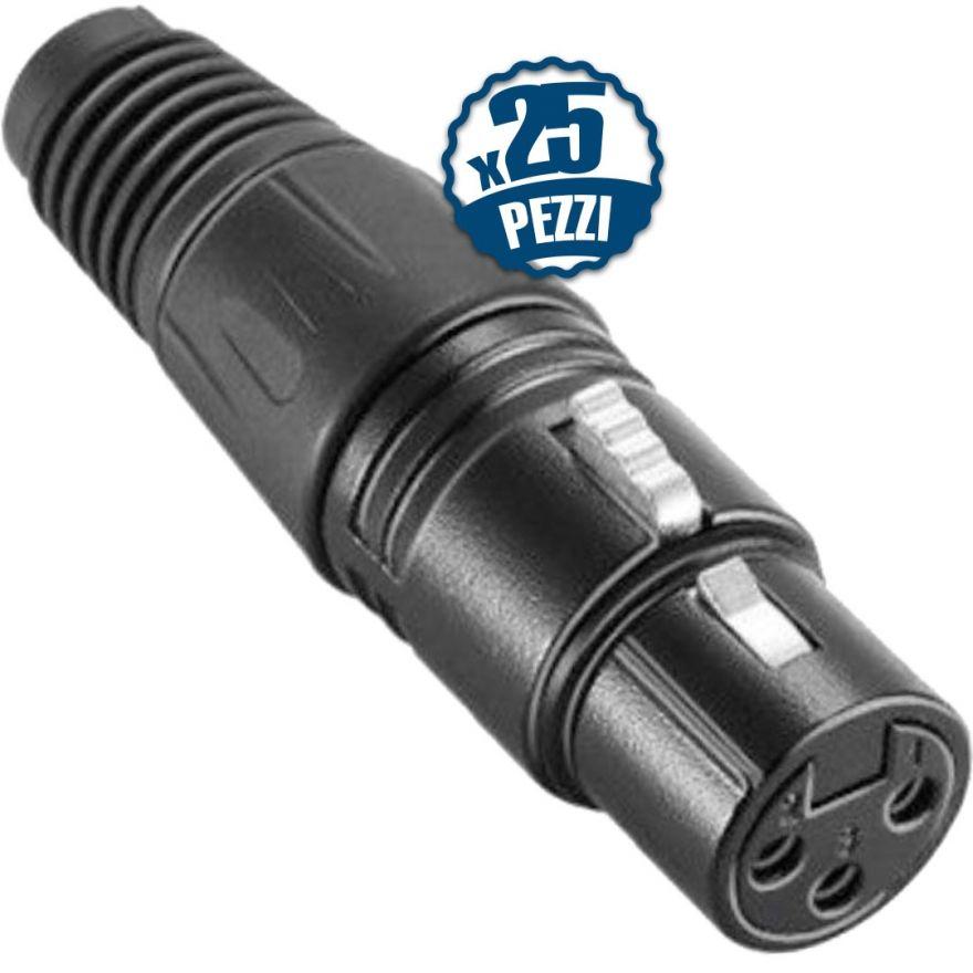 Connettore XLR Femmina per Microfono Audio Cannon in Metallo 25 pezzi