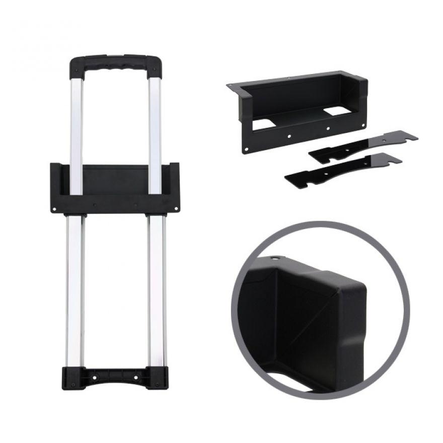 Adam Hall Hardware 3476021 - Maniglia Estraibile a Incasso a 1 Allungamento, Involucro nero sagomato lunghezza 528 - 808 mm