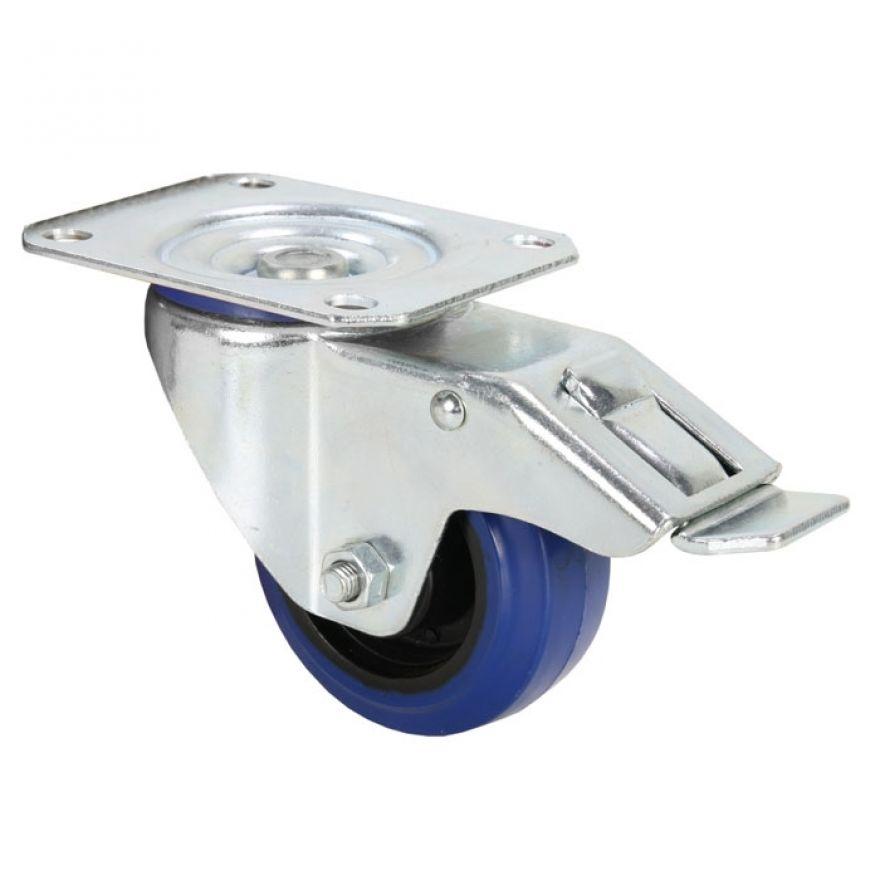 Adam Hall Hardware 372091 - Ruota Orientabile 80 mm con Ruota blu e Fermo