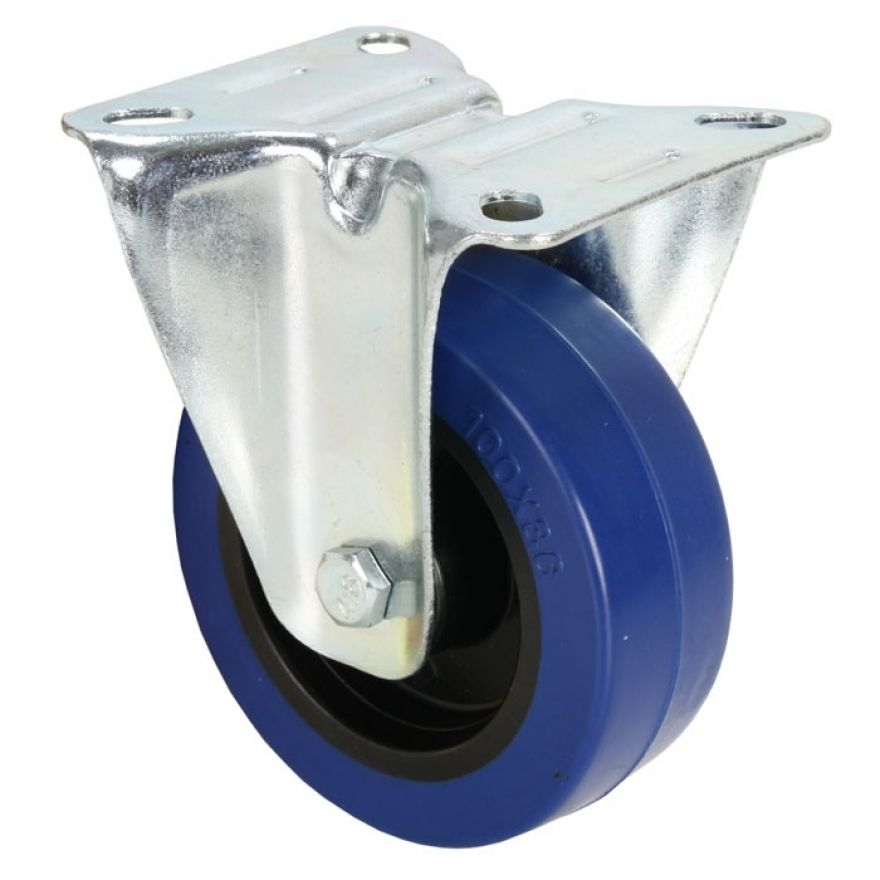 Adam Hall Hardware 372141 - Ruota Fissa 100 mm con Ruota blu