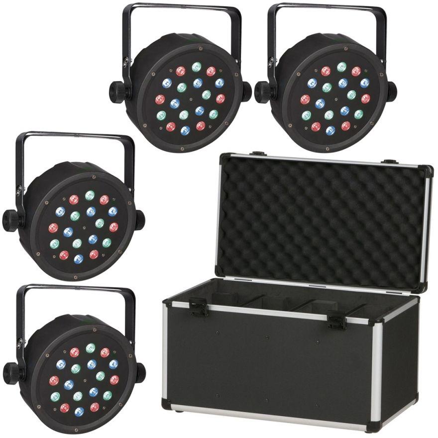 4 x Showtec Club Par 18/1 RGB con Case