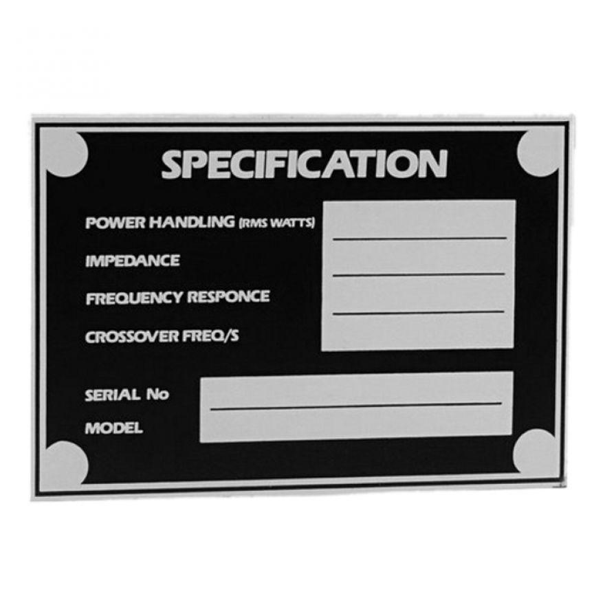 Adam Hall Hardware 5800 - Targhetta Inglese Autoadesiva