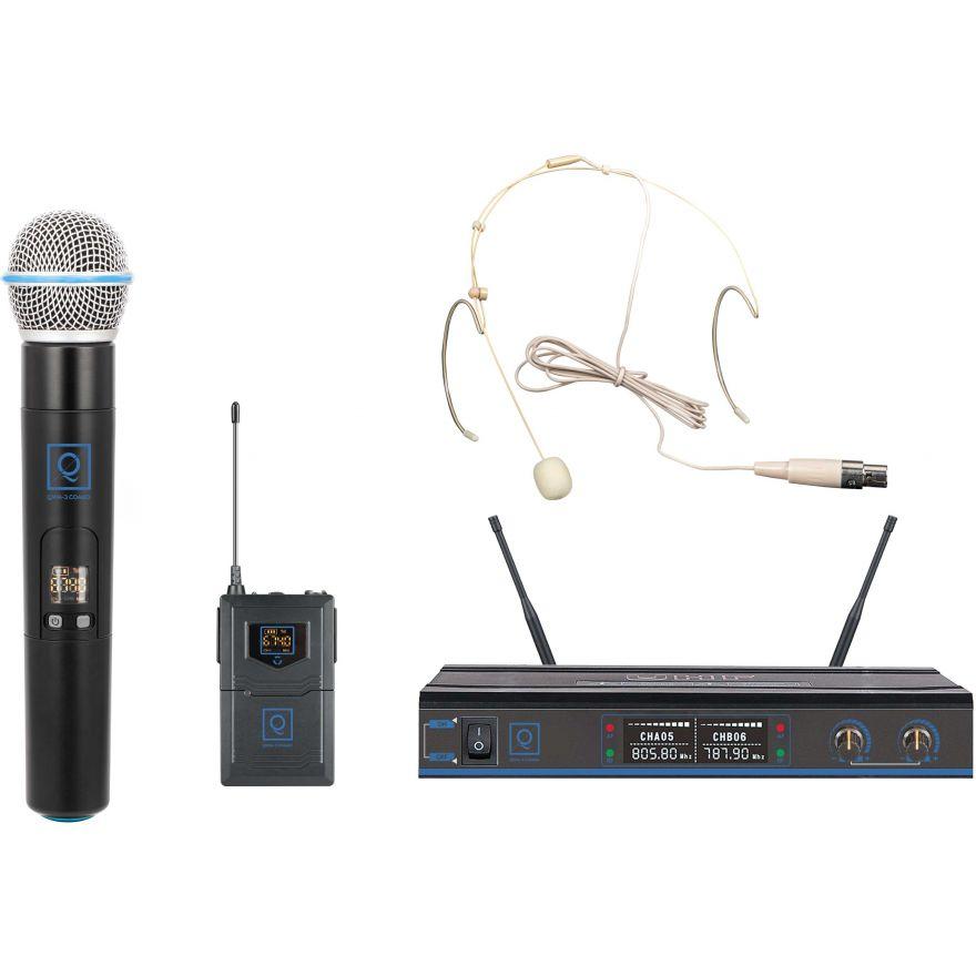 Oqan QWM-3 Combo (Handheld +Earset) 470-494Mhz FR Sistema wireless: microfono intercambiabile