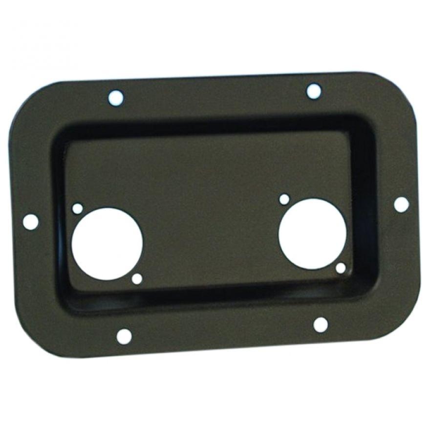 Adam Hall Hardware 8708 BLK - Piastra di Montaggio nera per 2 XLR o Prese Speakon
