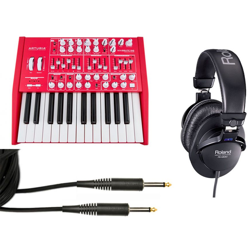 Producer Pack Sintetizzatore Analogico Mini 25 Tasti / Cuffia Professionale / Cavo Audio Jack/Jack Bundle
