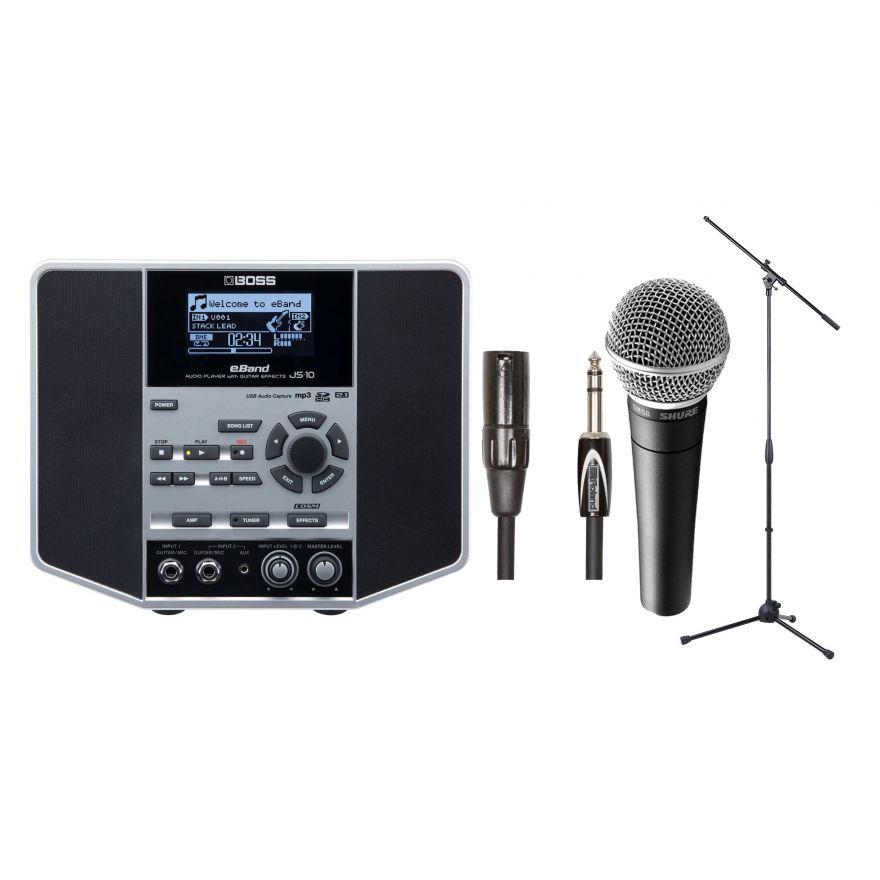 BOSS JS10 eBAND Lettore Audio con Effetti per Chitarra / SHURE SM58 Microfono Dinamico Professionale / Cavo Professionale 4.5mt / Asta Microfonica