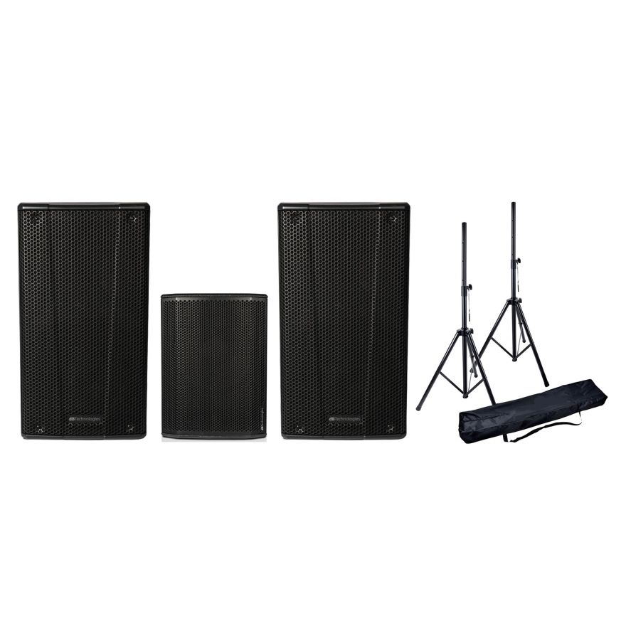 DB TECHNOLOGIES Impianto Audio 1000W Coppia B-Hype 15 / Subwoofer / Stativi