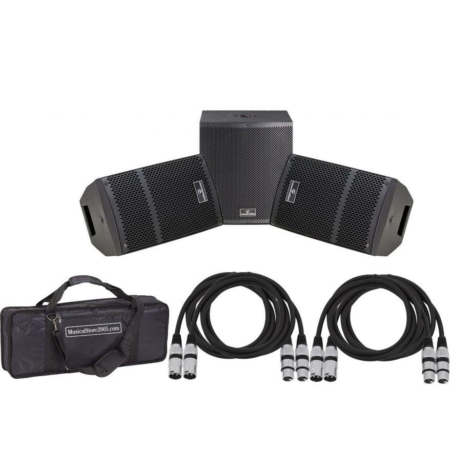 SOUNDSATION Impianto Audio Completo 1300W Coppia Diffusori Amplificati / Subwoofer / Cavi XLR/XLR 5mt
