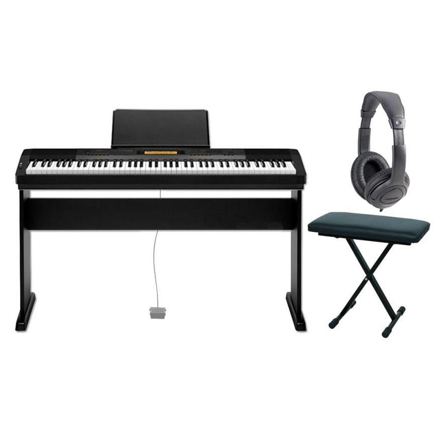 CASIO Set CDP230R BK Pianoforte Digitale 88 Tasti / Supporto / Panchetta / Cuffie Monitor Bundle