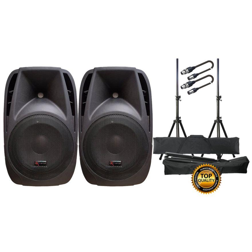 EXTREME Sistema Audio Completo Coppia Casse Attive / Stand / Cavi XLR/XLR Bundle