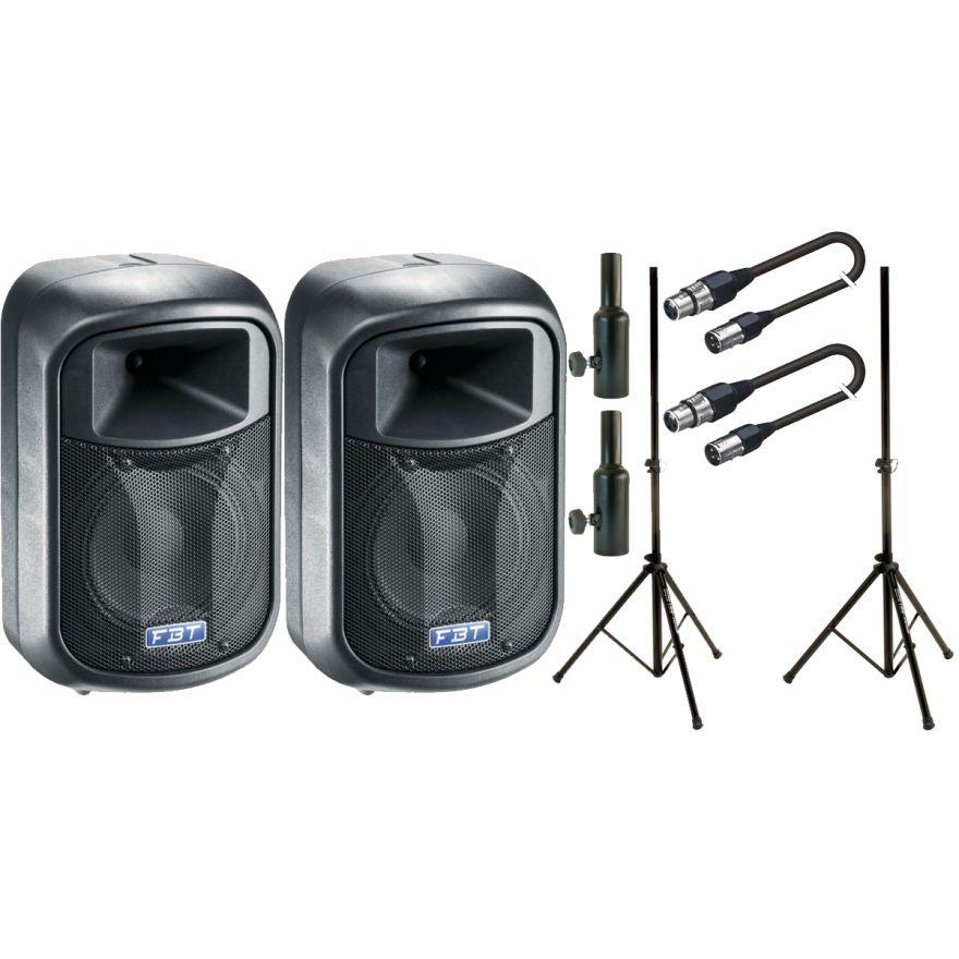 FBT Set J8A Black + Stativi + Adattatori per supporti casse + Cavi XRL/XRL 5mt Bundle